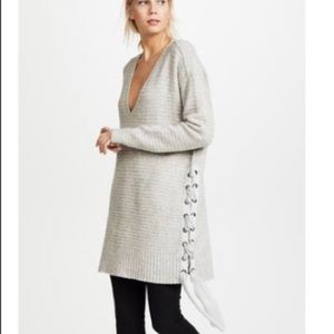 FP | Ribbed & Plunging Sweater Dress
